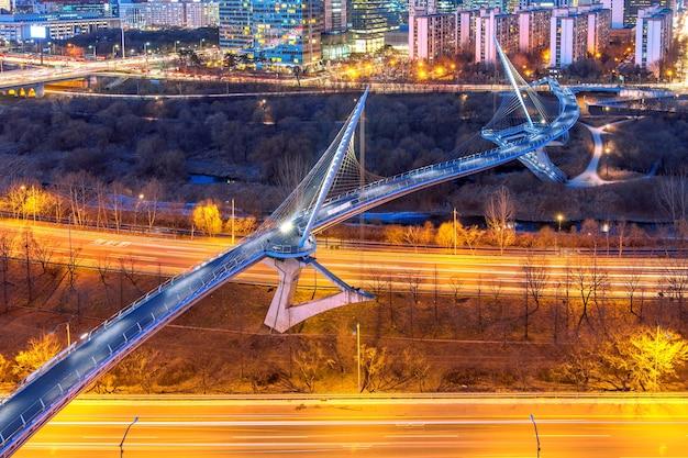 신길 구, 서울, 한국 밤에 스카이 라인. 무료 사진