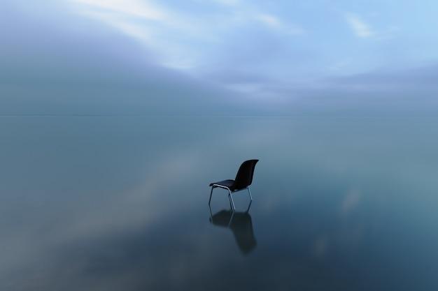 폭풍우 치는 날에 물 표면에 반영하는 단일 의자 무료 사진