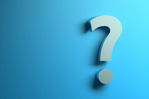 Single white question mark on the blue background with copy blank space. Premium Photo