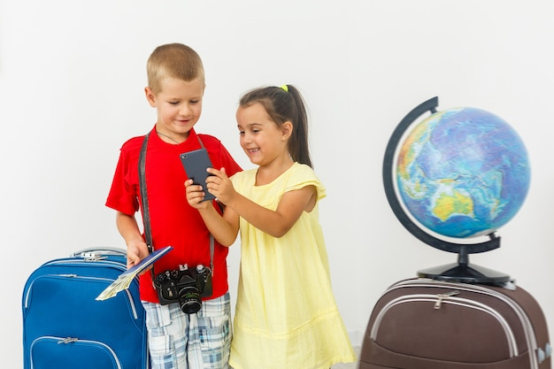 Sister hugging brother with baggage prepare to travel and tourist concept Premium Photo