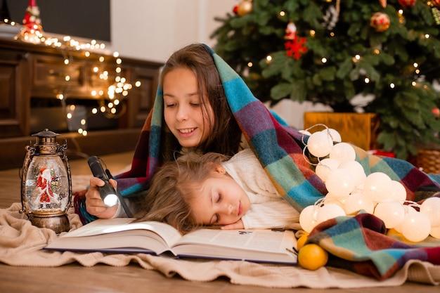 姉妹は格子縞に包まれた本を読む Premium写真