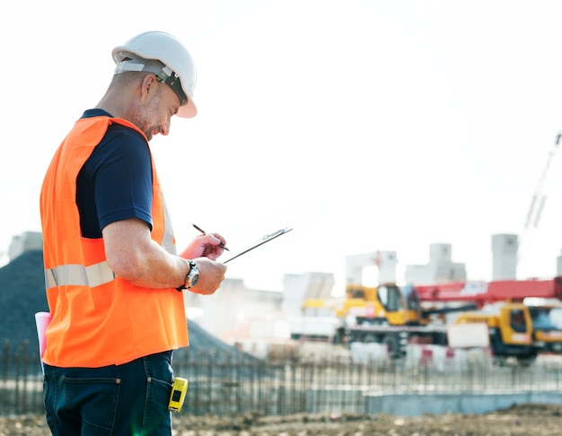 Site engineer on a construction site Premium Photo