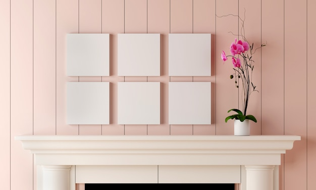 Six blank picture frame on pastel pink wood wall have flower vase placed on the fireplace. Premium Photo