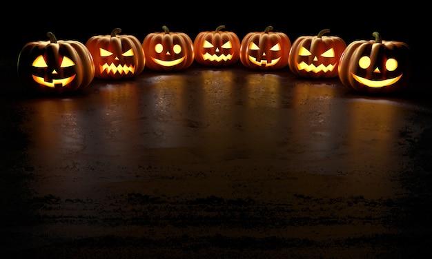 Шесть жутких улыбающихся тыкв на хэллоуин светятся в темноте с отражениями на полу Premium Фотографии