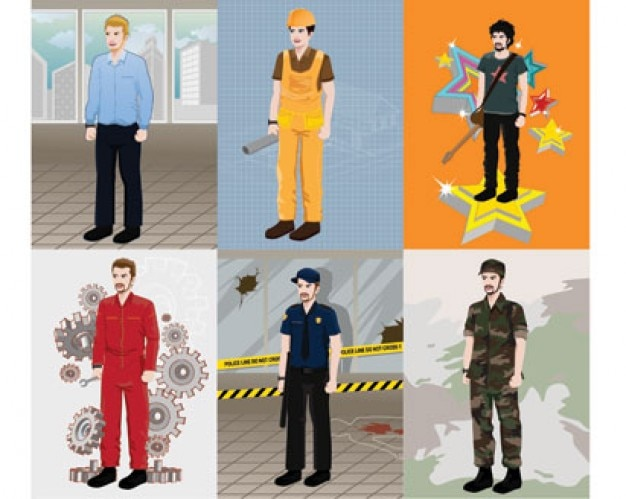 six Illustration of Professional People