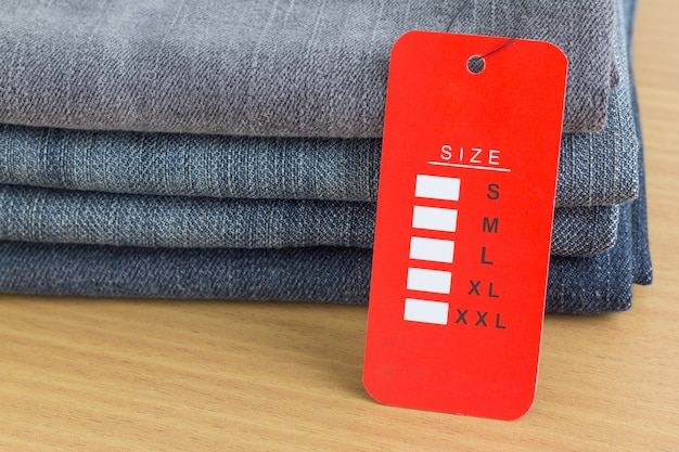 Size tag on  jeans Premium Photo