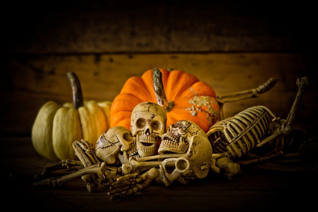 Skeleton And Pumpkin On Wood ,Happy Halloween Background ,Halloween Pumpkins  Free Photo