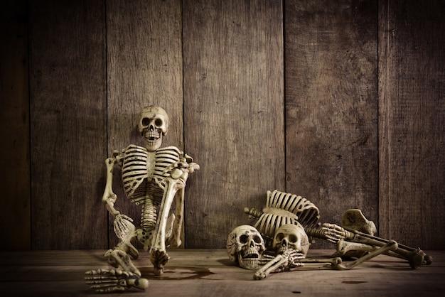 Skeleton on wood Free Photo