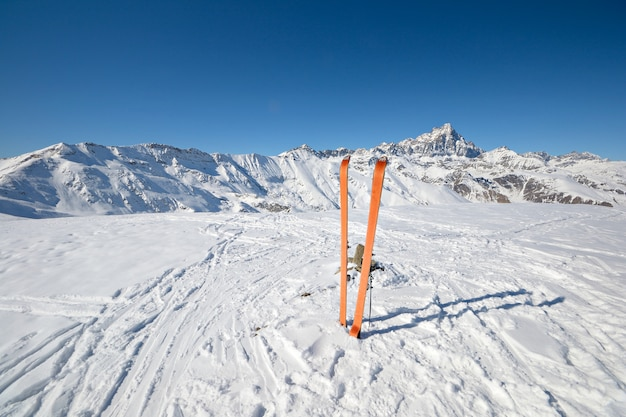Ski tour equipment in the snow, winter on the alps Premium Photo