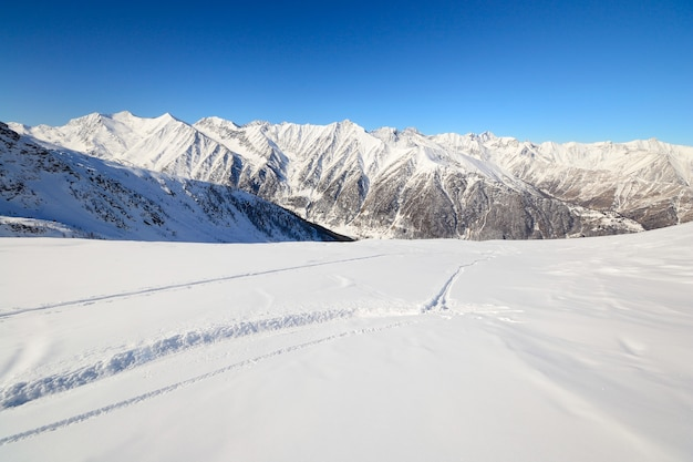 Ski tracks in powder snow winter on the alps Premium Photo