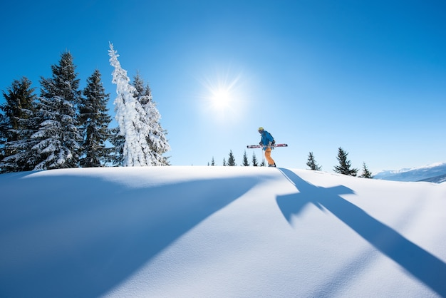 Skier on slope in mountains on winter day Premium Photo