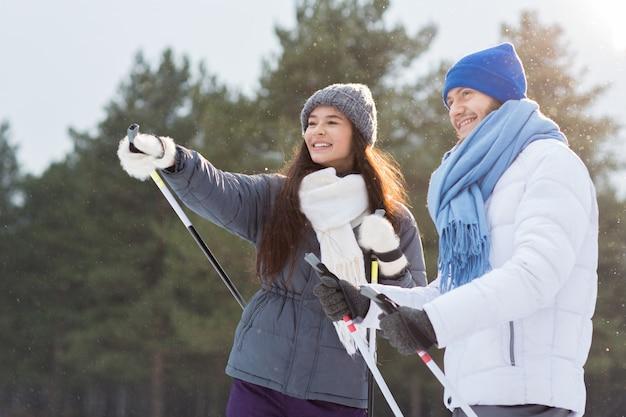 Skiers talking Free Photo