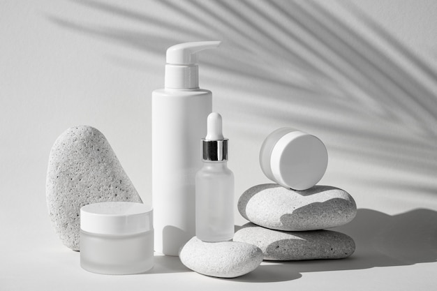 Skin products in different recipients assortment Premium Photo