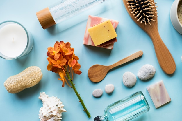 Skincare aromatherapy objects flatlay Premium Photo