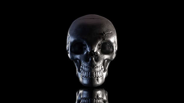 Skull is made of metal in the dark night. which has only light on the side and clipping path. still life style, 3d render. Premium Photo