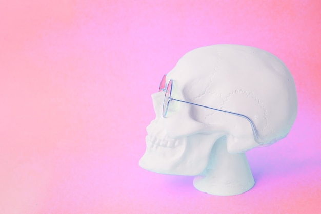 Skull with round glasses on pink background. copy space Premium Photo