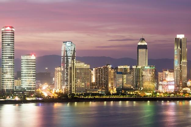 Sky night view of the city night, china nanchang Premium Photo