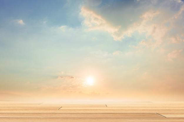 Sky scene with wooden floor Premium Photo