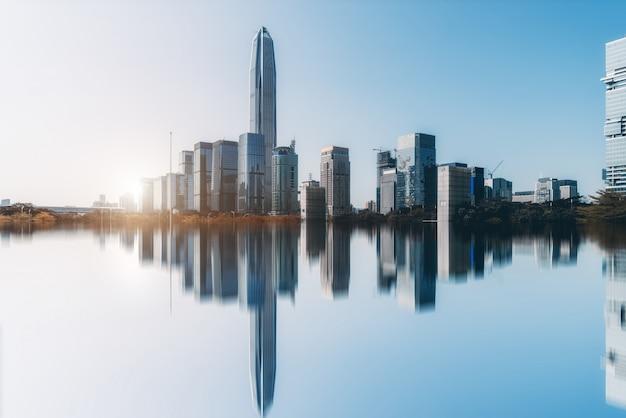 Skyline of urban architectural landscape in shenzhen Premium Photo