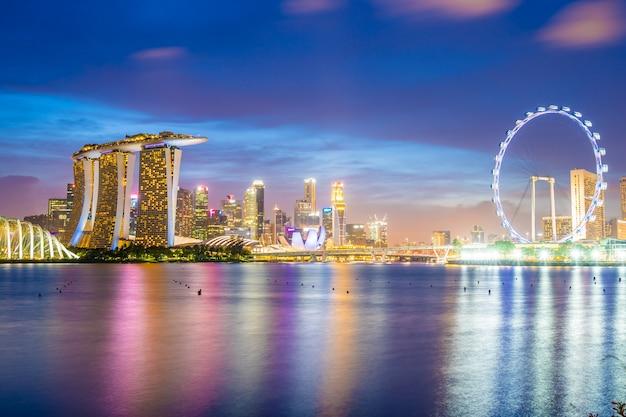 Skyscraper around marina bay in singapore city Free Photo