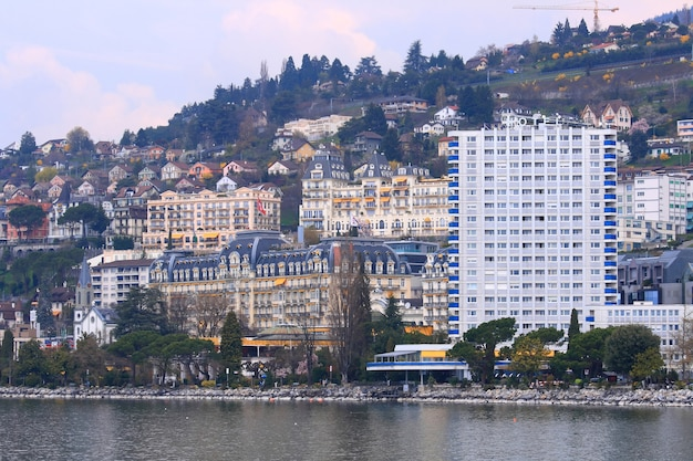 Skyscrapers along the montreux lake in summer time at  montreux switzerland close to franc Premium Photo