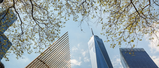 Небоскребы и здания на манхэттене. архитектура манхэттена и нью-йорка Premium Фотографии
