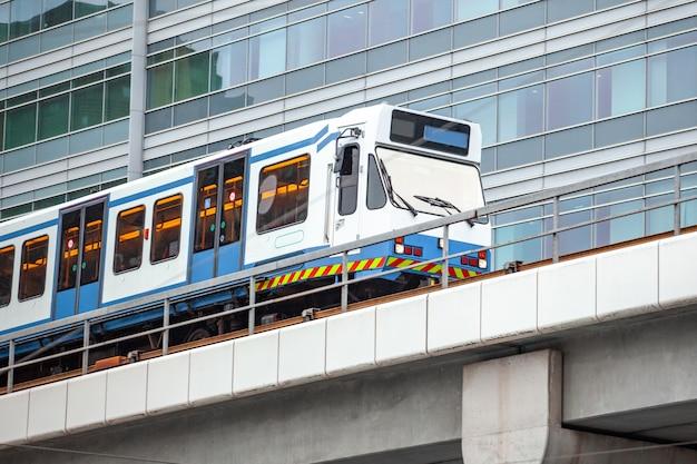Skytrain in city amsterdam. passenger train in netherlands. Premium Photo