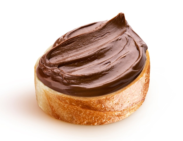 Slice of bread with chocolate cream with hazelnut Premium Photo