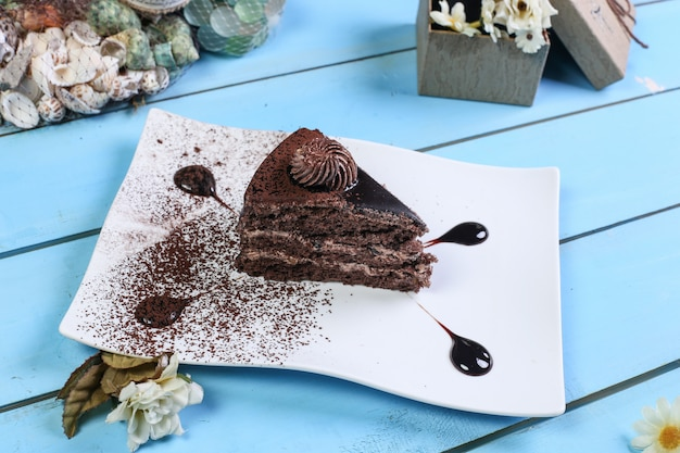 A slice of chocolate cake with cocoa powder. Free Photo