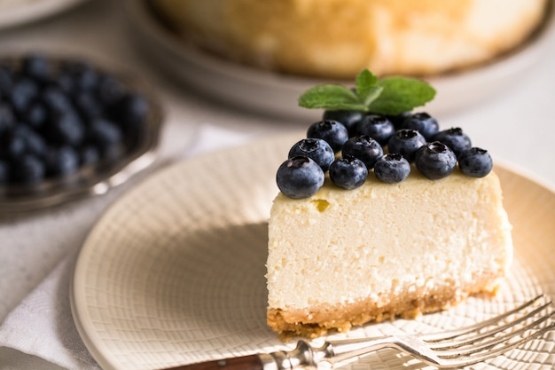 Slice of classical new york cheesecake with blueberries on white plate. closeup view. home bakery Premium Photo