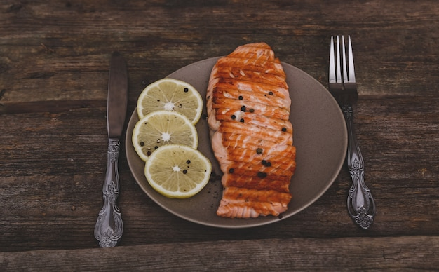 Slice of grilled salmon Free Photo