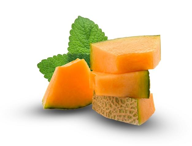 Slice of japanese melons, orange melon or cantaloupe melon with seeds isolated on white background Premium Photo