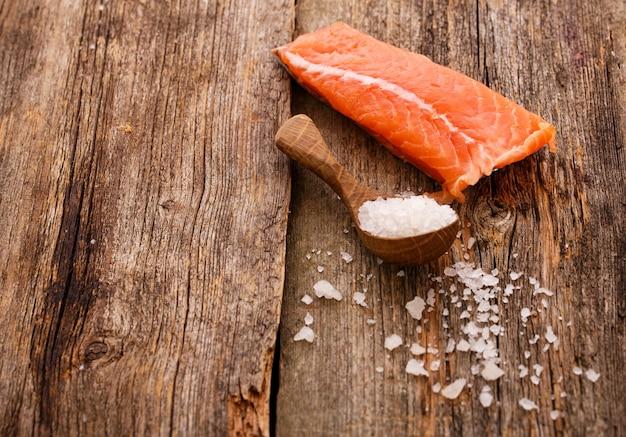Slice of raw salmon Free Photo
