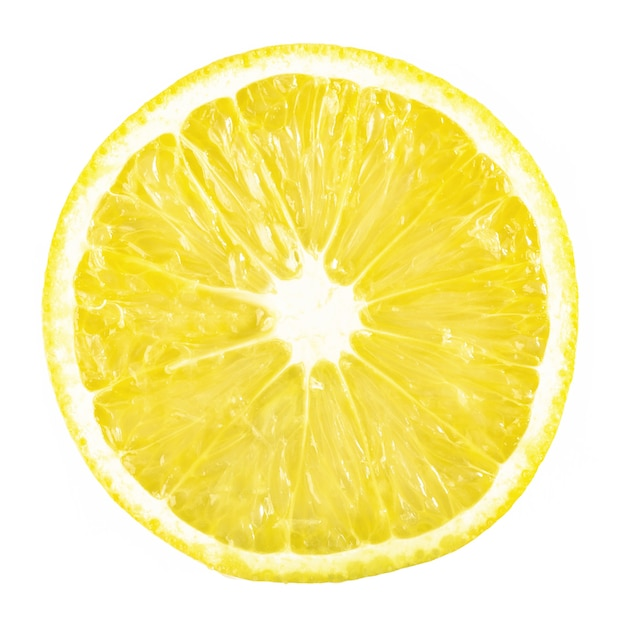 Slice ripe lemon citrus fruit on a white. Free Photo