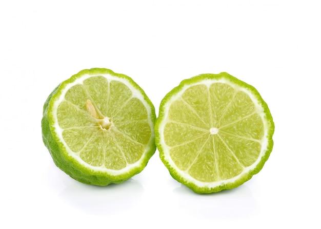 Sliced bergamot isolated on the white Premium Photo