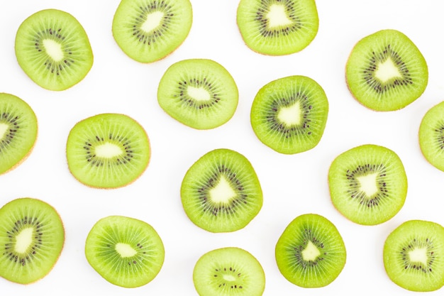 Sliced kiwi isolated on white Premium Photo