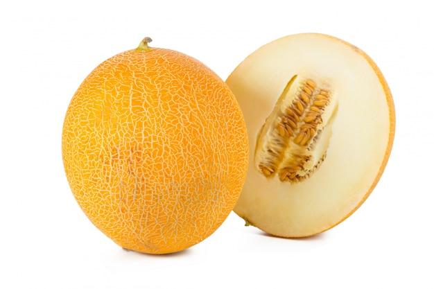 Sliced melon isolated on white background Premium Photo