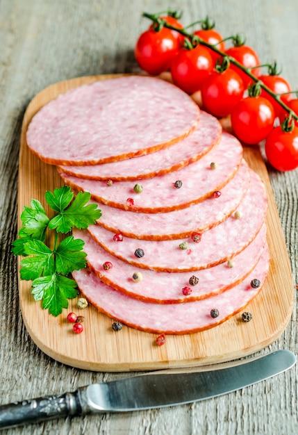 Sliced salami Premium Photo
