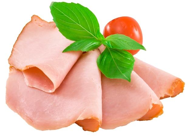 Sliced semi-smoked sausage isolated Premium Photo