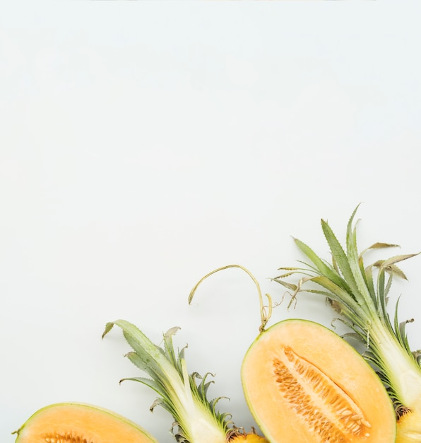 Sliced tropical fruits from above Free Photo