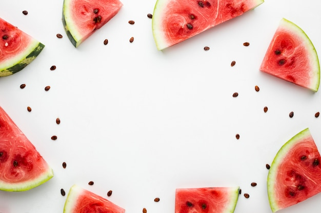 Sliced watermelon arrangement with copy space Free Photo