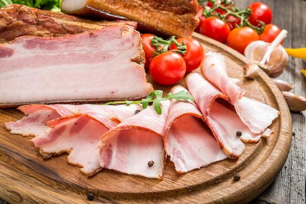 Slices of bacon Premium Photo
