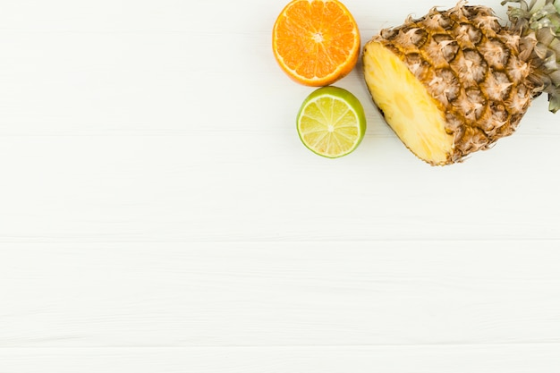 Slices of fresh tropical fruits Free Photo