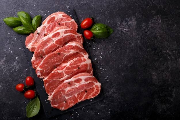 Slices pork loin Premium Photo