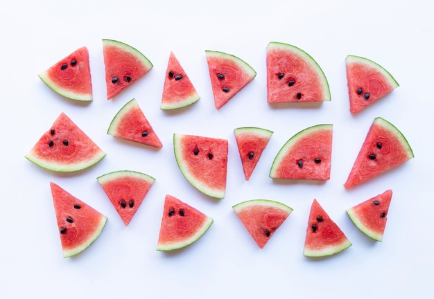 Slices of watermelon isolated on white background Premium Photo