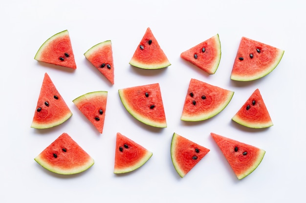 Slices of watermelon isolated on white background, Premium Photo