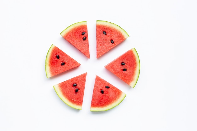 Slices of watermelon isolated on white Premium Photo