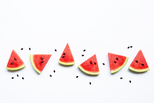 Slices of watermelon with seeds isolated on white Premium Photo