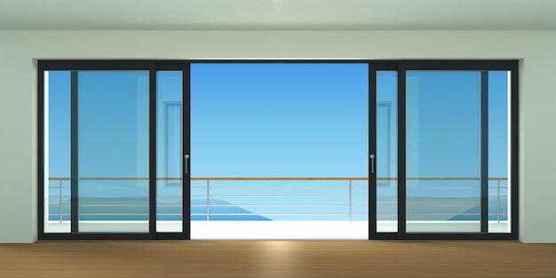 Sliding exterior door with two black shutters. Premium Photo