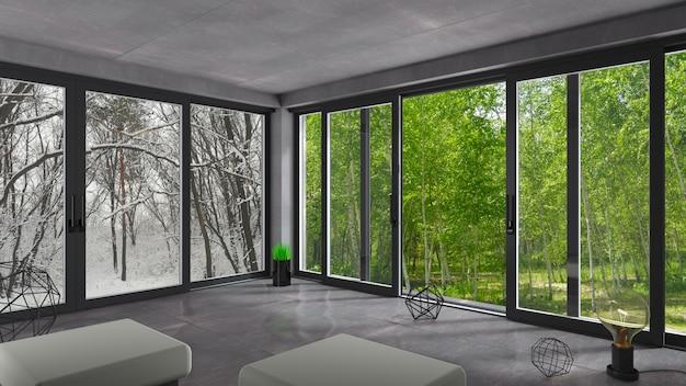 Sliding windows winter summer. Premium Photo